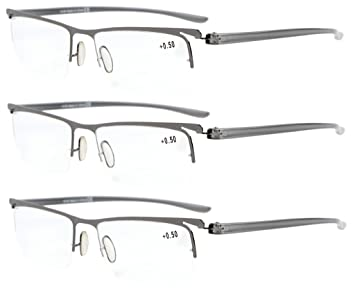 dbec69da01d6 Eyekepper 3-Pack Plastic Temple Lightweight Half-rim Reading Glasses Men  Women Gunmetal +