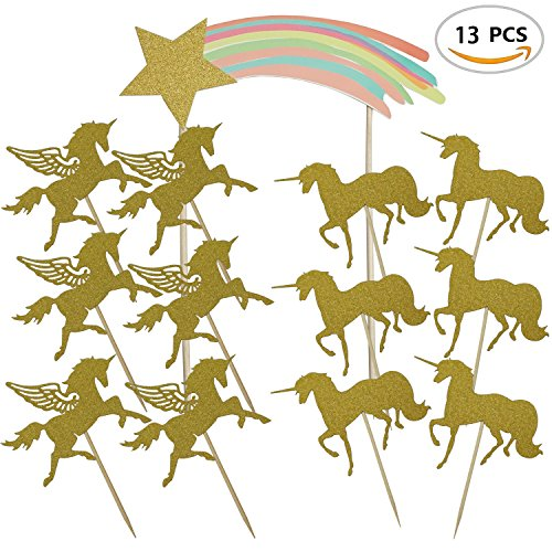 Price comparison product image Rainbow Unicorn Cupcake Toppers for Birthday Party Decoration Glittery Gold Unicorn Themed Rainbow Cake Top Baby Shower 13PCS by SHXSTORE