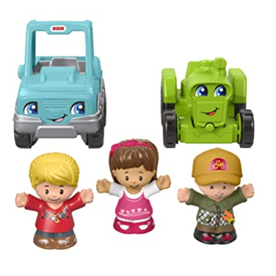 Fisher-Price Little People Truckin' Along Vehicle Gift Set with Tractor and Truck: Toys & Games