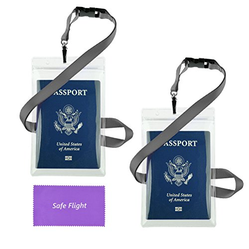 "Transparent Passport ID Badge Holder Extra Large 6x4"" with 17"" Neck Lanyard - 2 Pack Bundle - Detach Buckle - Also for Cash, Credit Card, Plane Ticket, etc - Essential 'Handsfree' Travel Accessory"