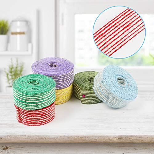 VGOODALL 6 Rolls 1 Inch Wide Fabric Ribbon Burlap Ribbon Total 30M Ribbon for Crafts Wrapping Gifts Party Holiday and Rustic Wedding Decorations