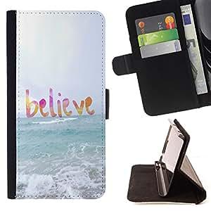 - believe god sun sea beach summer text - - Prima caja de la PU billetera de cuero con ranuras para tarjetas, efectivo desmontable correa para l Funny HouseFOR Apple Iphone 6