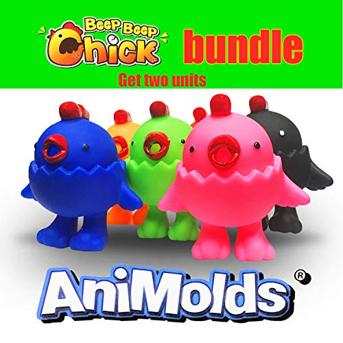 """Animolds Squeeze Me Toy Noise Maker Bundle """"Beep Beep Chick"""" Limited Edition Toy Hen 2 Pack(Bundle)"""