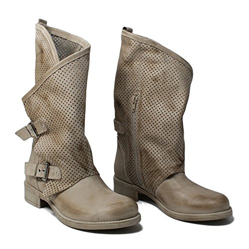 Italy Leggeri Stivali Boots Biker In Donna 0369 Vera Traforati Time Mantraa Morbidi Beige Asimmetrici Nabuk Pelle Made Estivi Elefant qA8nxUn