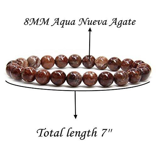 Amandastone Aqua Nueva Agate Gem Semi Precious Gemstone 8mm Ball Beads Stretch Bracelet 7