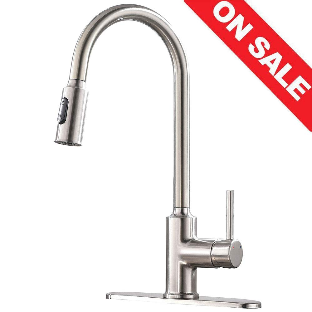 KINGO HOME Modern Commercial Lead Free Stainless Steel Single Lever Handle Pull Down Sprayer Brushed Nickel Kitchen Faucet, Kitchen Sink Faucet With Deck Plate