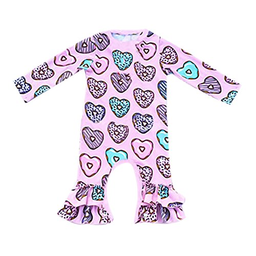 IBTOM CASTLE Newborn Baby Girls Ruffle Romper Jumpsuit Long Sleeve Valentine's Day Love Heart Easter Egg Print Bodysuit Pajama Outfit Pink Heart Donut 0-3 -