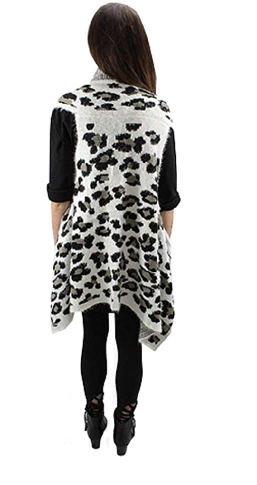 Sunshine   Rodeos Cheetah Leopard Womens Winter Fall Open Vest Top (Black  White) at Amazon Women s Clothing store  202405d7b