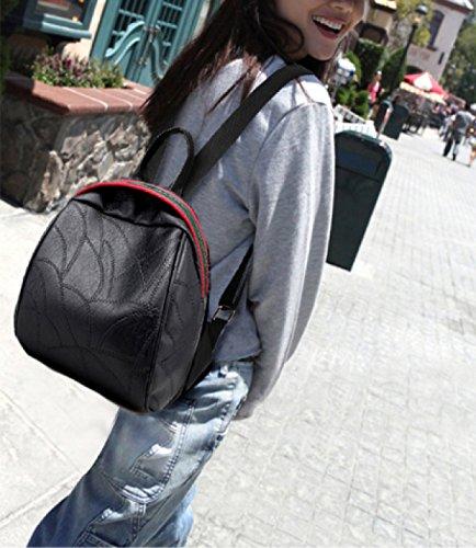 Ayer Moda Damas Bolsa PU Hombro Diagonal Cruz Paquete Doble Hombro Bolso Damas Pequeña Mochila Black