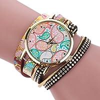 AutumnFall® Women Bohemian Bracelet Woven Braided Handmade Wrap Bracelet Watch (A)
