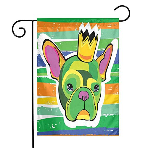 Mannwarehouse Bulldog Garden Flag Green French Bulldog Head with a Crown on Colorful Grunge Brushstrokes Art Print Premium Material W12 x L18 Multicolor