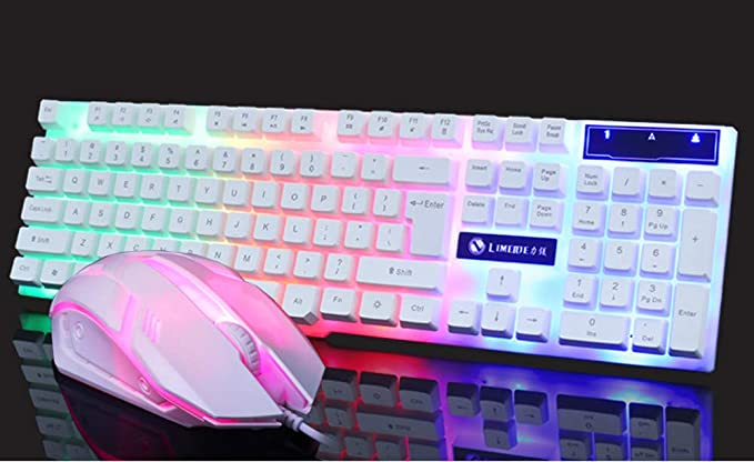 BHGFCGYUH for GT300 Color LED Backlight USB Cable PC Rainbow Game Keyboard and Mouse Set Dazzling Adjustable