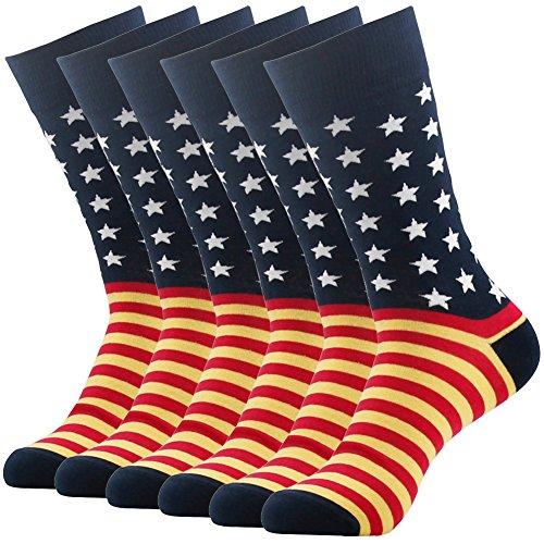 Crazy Wonder Fun Casual Dress Socks Men, SUTTOS Men's Custom Elite Fashion Cute American Flag Pattern Cotton Easter Day Gifts Crew Dressy Socks 6 Pairs for Groomsmen Wedding Gifts,Navy (Pattern Yellow Argyle)