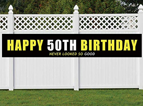 50th Birthday Banner, Large Happy 50th Birthday Sign, 50 Bday Party Decoration Supplies