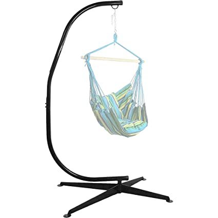 Sunnydaze Durable Steel C Stand For Hanging Hammock Chairs And Swings, 300  Pound Capacity
