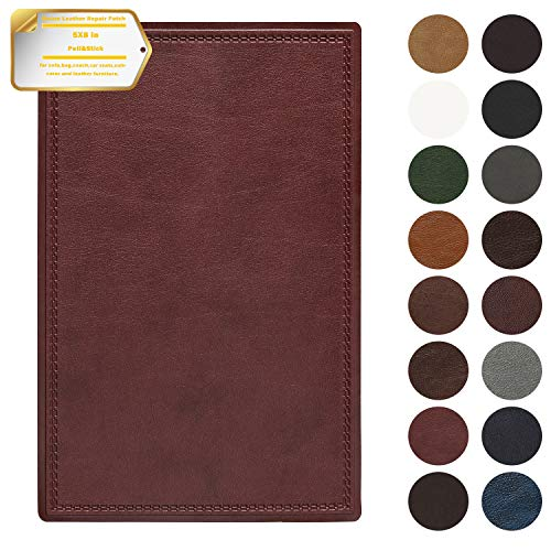 Leather Repair Patch Self-Adhesive Couch Patch Emboss Leather 5X8 inch for Sofas, Car Seats, Handbags, First Aid Patch (Wine - 8 Wine Red Inch