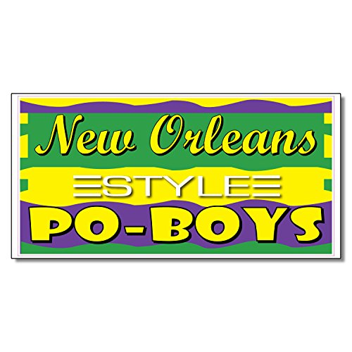 New Orleans Po-Boys Restaurant Café Bar DECAL STICKER Retail Store Sign 9.5 x 24 inches