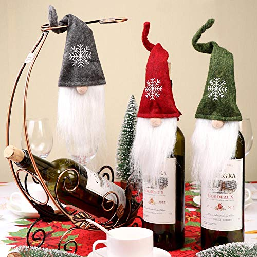 AerWo 3pcs Christmas Gnome Bottle Toppers, Swedish Tomte Wine Bottle Topper Cover for Christmas Holiday table Decorations