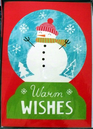 (Warm WISHES Snowman Scene Christmas Holiday Cards - Box of 18 with Envelopes)