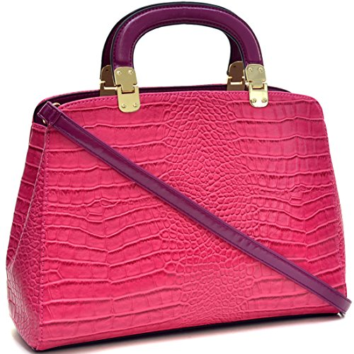 (Dasein Faux Croco Leather Hinge Handle Laptop, Tablet, iPad Bag Satchel Briefcase Shoulder Handbag Purse with Removable Shoulder Strap -)