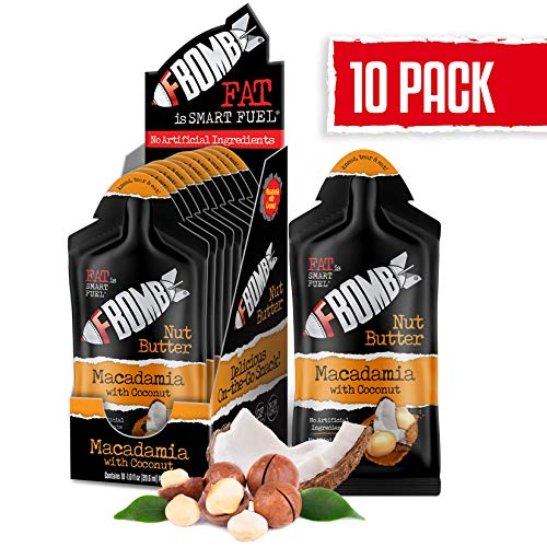 FBOMB Nut Butter 10 Pack: All-Natural Energy, Keto Fat Bombs | High Fat, Low Carb Snack, for On-The-Go Energy | Paleo, Vegetarian, Keto Snacks | Macadamia & Coconut - 1 oz Packets
