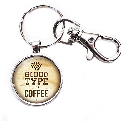 My Blood Model Is Coffee - Silver Keychain with Glass Image, Large Lobster Claw