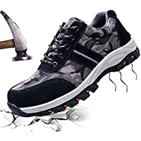 JACKSHIBO Steel Toe Shoes Men, Work Safety Shoes Breathable Industrial Construction Shoes Outdoor Hiking Shoes