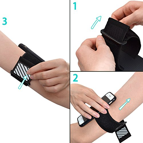 WANPOOL Sport Armband for iPhone ( Black ) - Open-Face Armband / Wristband Holder, Includes Standard Strap To Fit 11''-20'' Arm Circumferences & Extra Small Strap To Fit 7''-12'' … (iPhone 6(s) Plus) by WANPOOL (Image #1)