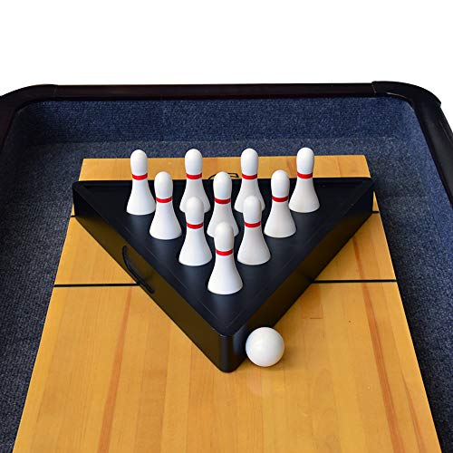 TORPSPORTS Set of 10 Hardwood Shuffleboard Bowling Pin Set-Pinsetter&Carry Bag