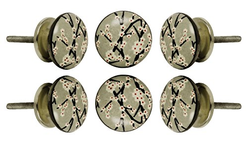 (Set of 6 Ceramic Amin Knob Kitchen Cabinet Cupboard Door Knobs Dressser Wardrobe and Drawer Pull by Trinca-Ferro)