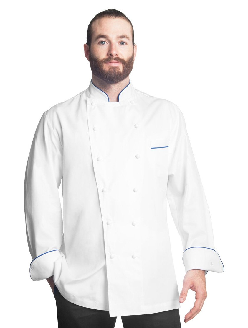 Bragard Exclusive Design Men's perigord Chef Jacket - White With Blue Piping Cotton - Size 42