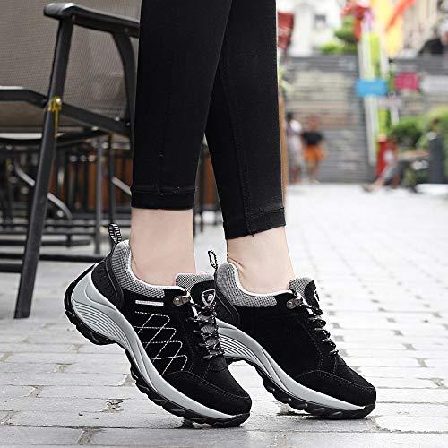 casual sho Zapatos Altos De Otoño E Invierno, Zapatos De Mujer De Cuero Mate, Zapatos Deportivos De Sacudida De Plataformas Deportivas, Zapatos Sueltos negro