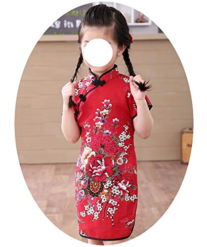 Baby Girl Chi-Pao Short Sleeve Dresses Chinese Children Clothes Girl's Cheongsam Floral Dress,11,91]()