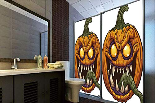 Horrisophie dodo 3D Privacy Window Film No Glue,Halloween,Scary Pumpkin Monster Evil Character with Fangs Aggressive Cartoon,Purple Orange Dark Green,47.24