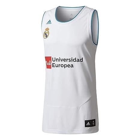 Adidas RM Replica Camiseta sin Mangas Línea Real Madrid de Baloncesto, Hombre, Blanco (