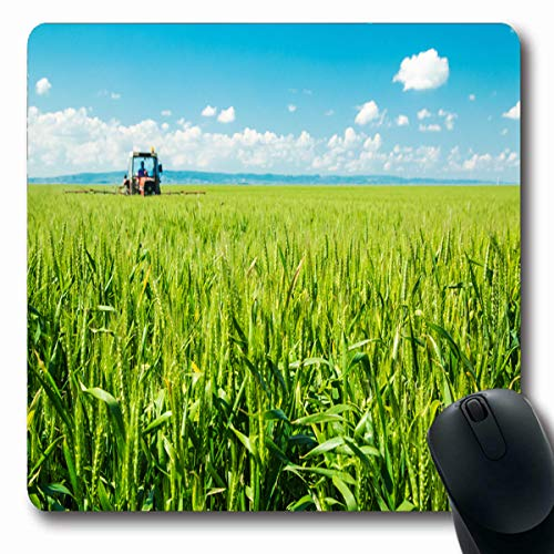 Tobesonne Mousepads Farm Green Agriculture Spraying Wheat Crops Field Carcinogenic Industrial Tractor Farming Pesticide Oblong Shape 7.9 x 9.5 Inches Non-Slip Gaming Mouse Pad Rubber Oblong Mat
