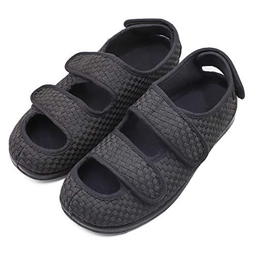 Women's Extra Wide Width Adjustable Slippers, Diabetic & Edema Slippers Swollen Feet Walking Shoes Indoor/Outdoor Orthopedic Sandals Black (Extra Extra Wide Shoes For Swollen Feet)