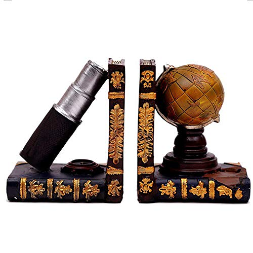 Agirlgle Bookends Vintage Style Decorative Book Ends Globe & Books Design Art Bookshelf Heavy Duty Bookdend Set Decor Office Library Gifts