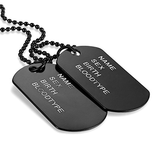 Oidea-Mens-High-Polished-Double-Army-Dog-Tag-Pendant-NecklaceBlack27-Inch-Chain-Included