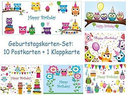 10 Búhos de tarjetas de cumpleaños (5 diseños de 2 ST.) en ...