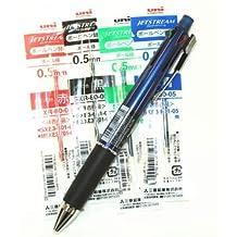 Uni-ball Jetstream 4&1 4 Color 0.5 Mm Ballpoint Multi Pen(msxe510005.9)+ 0.5 Mm Pencil(navy Body) & 4colors Ink Pens Refills Value Set(with Values Japan Original Discription of Goods) by Uni