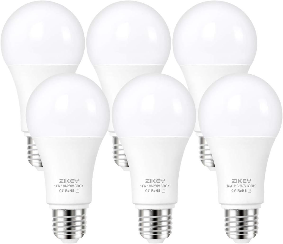 ZIKEY Bombilla LED E27, 14W equivalentes a 110W, A65 Esférica lámpara, 3000K Luz Blanco Cálido, 1200 lúmenes, No regulable - Paquete de 6