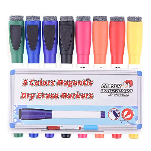 Magentic Dry Erase Markers with Eraser, Feela 8 Colors White Board Markers and Eraser, Medium Point Low-Odor Markers Usable on Magnetic Whiteboard Surface for School Office Home ()