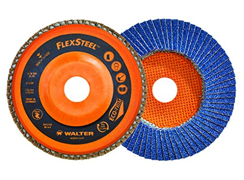 Walter 15W456 Flexsteel Flap Disc [Pack of 10] - 60 Grit Grinding Disc for 4.5 in. Angle Grinders. Abrasive Grinding Supplies