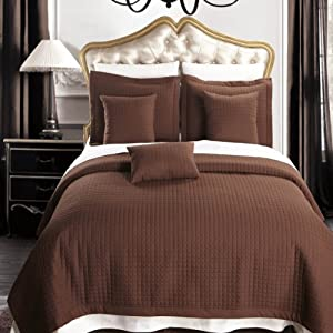 Full size Chocolate Coverlet 6pc set, Luxury Microfiber Checkered Quilt and Pillows by Royal Hotel