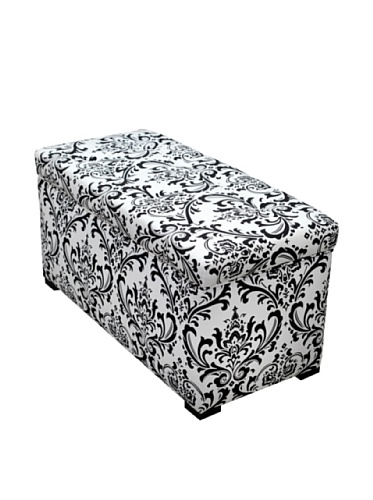 SOLE Designs Angela Collection Contemporary Fabric Upholstered Accent Entryway Storage Trunk Black/White from Sole Designs