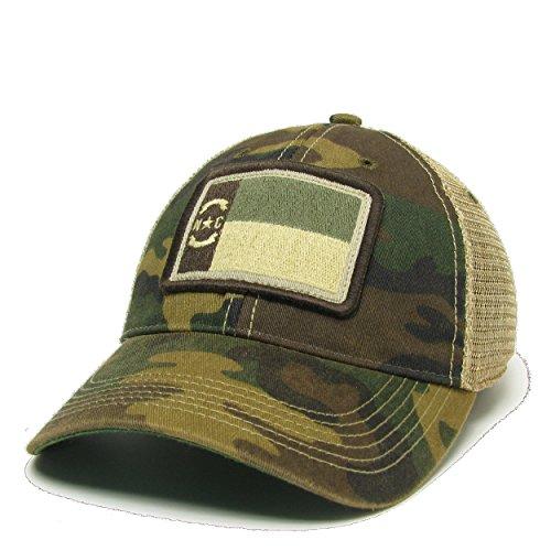 North Carolina (NC) Flag Patch Trucker Hat (Camo Subdued)