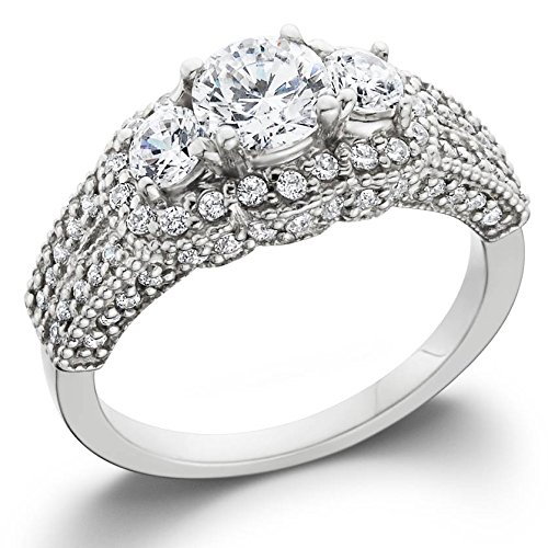 1.75CT Vintage Heirloom Diamond Ring 14K White Gold