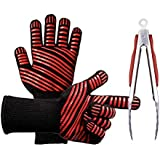 BAFULAN BBQ Grill Gloves, 1472ºF Extreme Heat Resistant Oven & Grill Gloves with BBQ Tongs, BBQ Cooking Gloves for Extra Forearm Protection, Barbecue, Cooking - 1 Pair