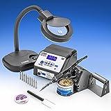 X-Tronic Model #8050-XTS - 70 Watt Commercial Grade ESD Safe 3 Preset Digital Display Soldering Iron Station - C/F - Sleep Function - Auto Shut Down - Solder Roll Holder, Brass Tip Cleaner w/Flux